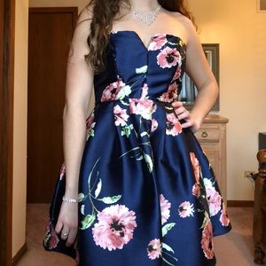 Gorgeous Navy and Floral Strapless Dress
